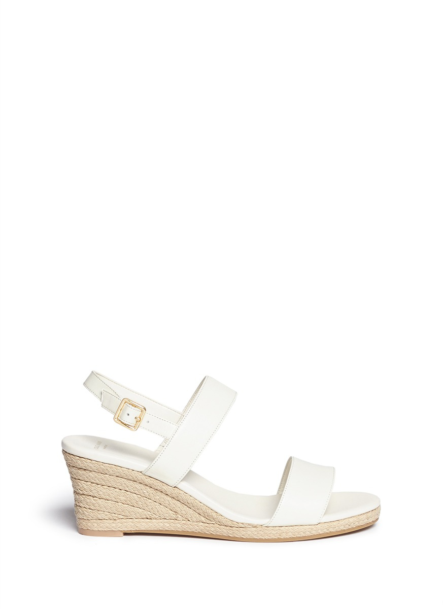 Cole Haan Opha Leather Espadrille Wedge Sandals In White