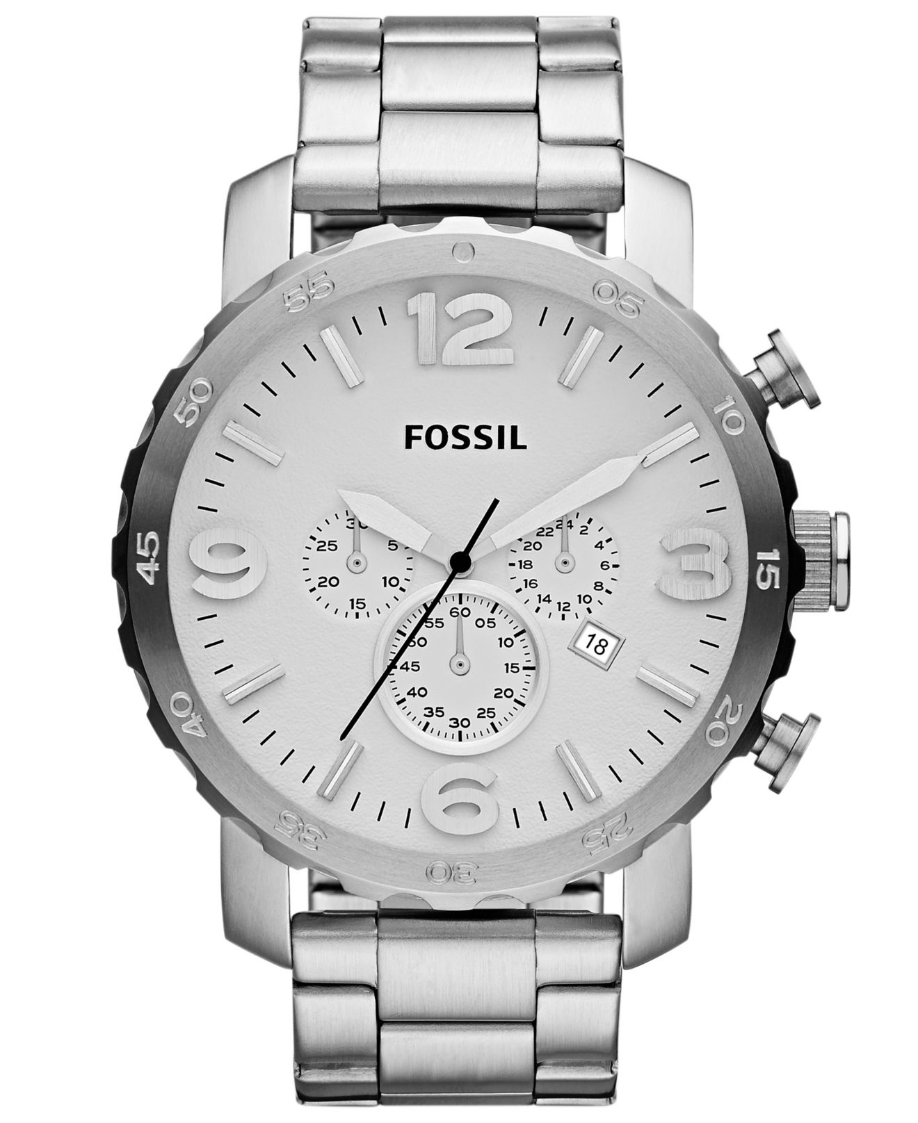 c1681263b03 Lyst - Fossil Men S Chronograph Nate Stainless Steel Bracelet Watch ...