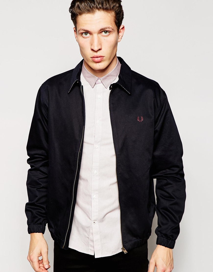 lyst fred perry harrington jacket with contrast under collar in blue for men. Black Bedroom Furniture Sets. Home Design Ideas