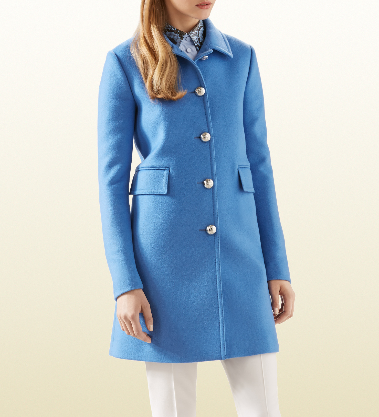 Gucci Blue Wool Coat in Blue | Lyst