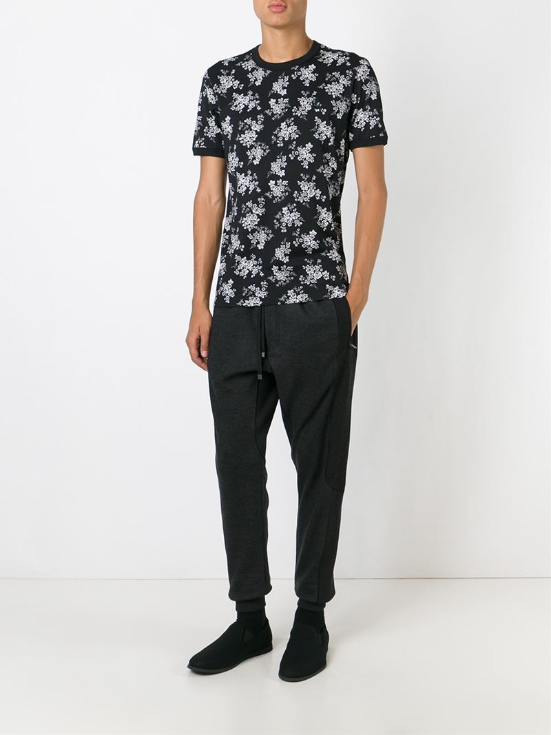 Lyst dolce gabbana flower print t shirt in black for men for Dolce and gabbana printed t shirts