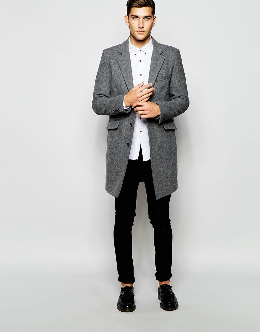 Grey Wool Coat Mens - JacketIn