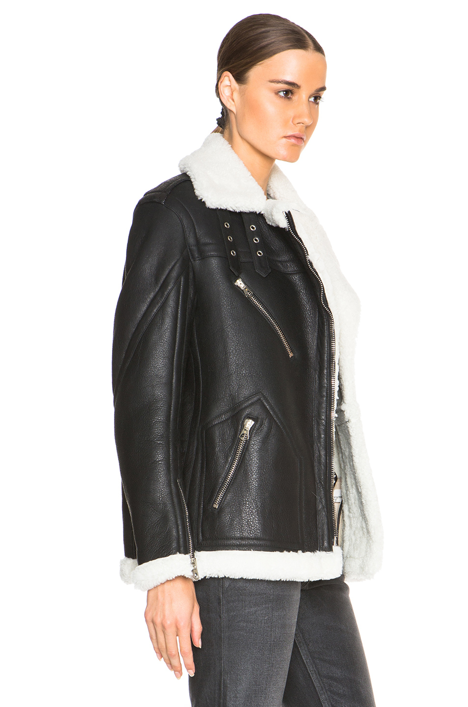Golden goose deluxe brand Fay Lamb Shearling Jacket in Black | Lyst