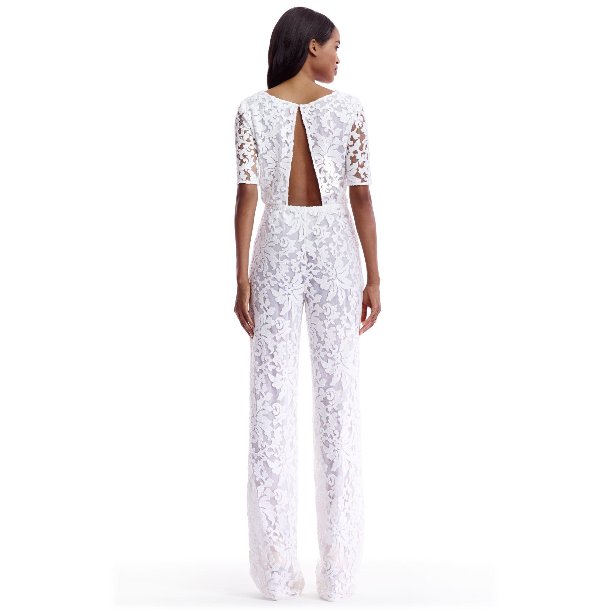 485c275f7ef5 Diane von Furstenberg Dvf Kendra Embellished Open Back Jumpsuit in White -  Lyst