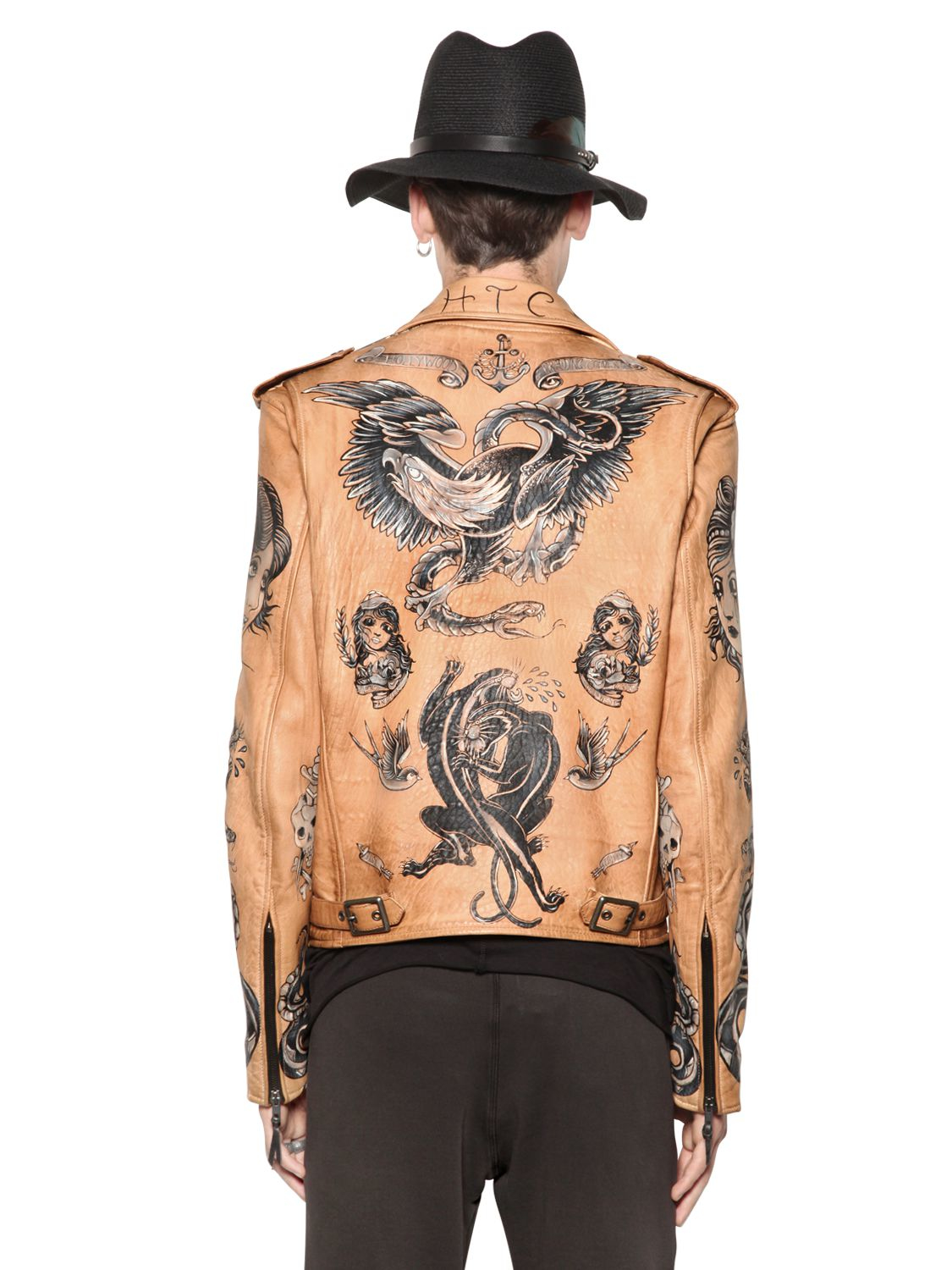 HTC Hollywood Trading Company Hand-painted Tattoo Nappa Leather ...