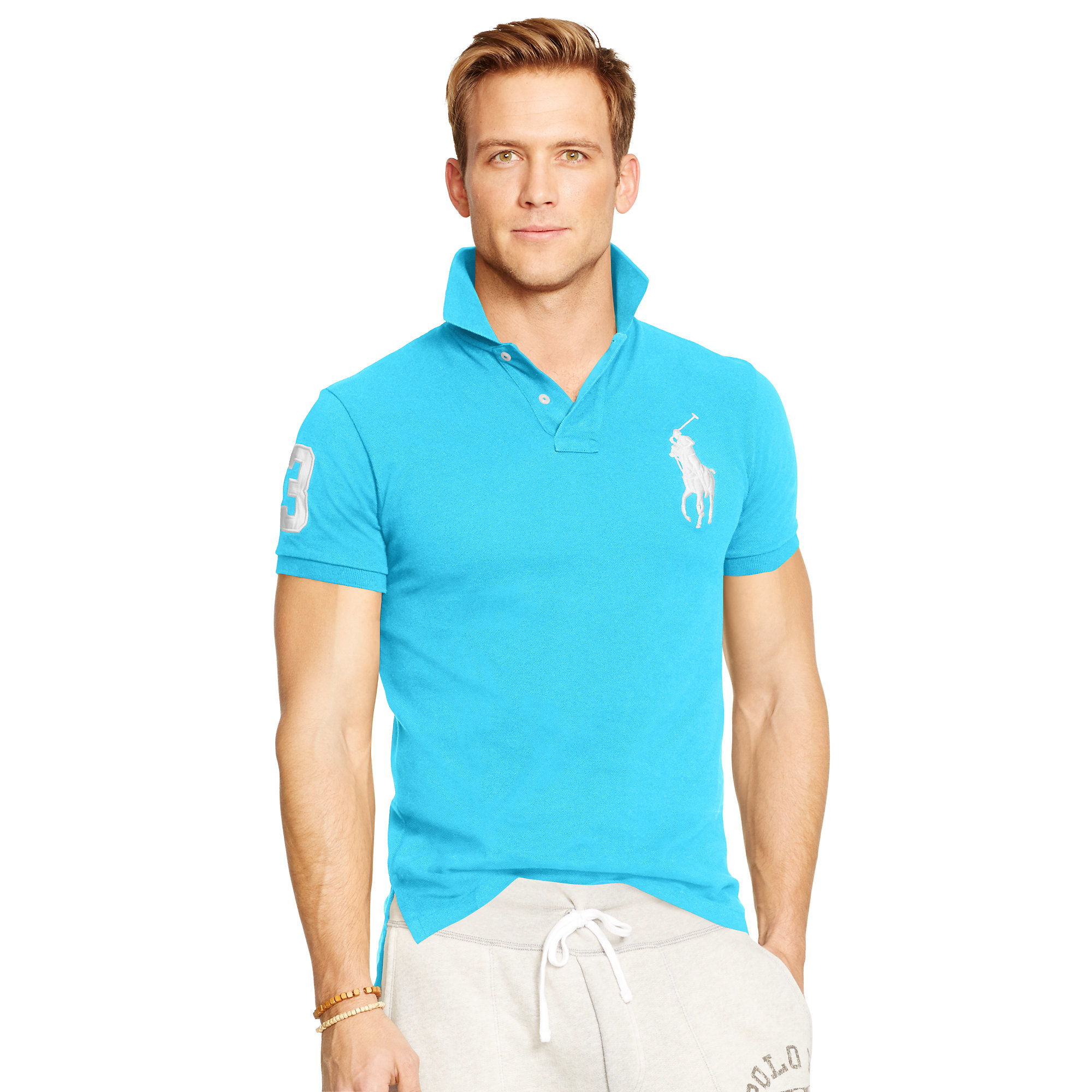 51d9e416f1 Lyst - Polo Ralph Lauren Custom-fit Big Pony Polo in Blue for Men
