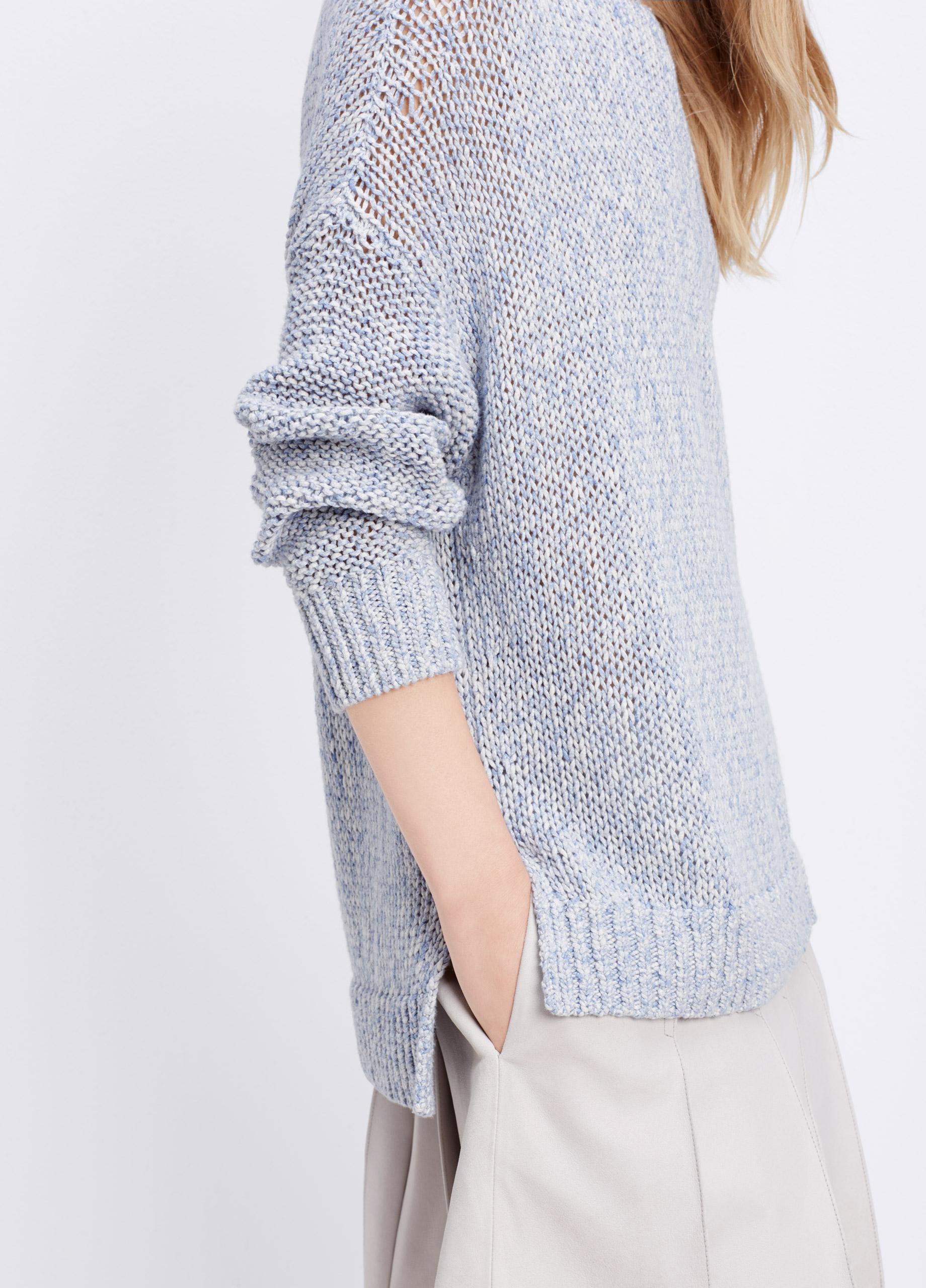 Vince Drop Shoulder Mélange Cotton Sweater in Blue   Lyst