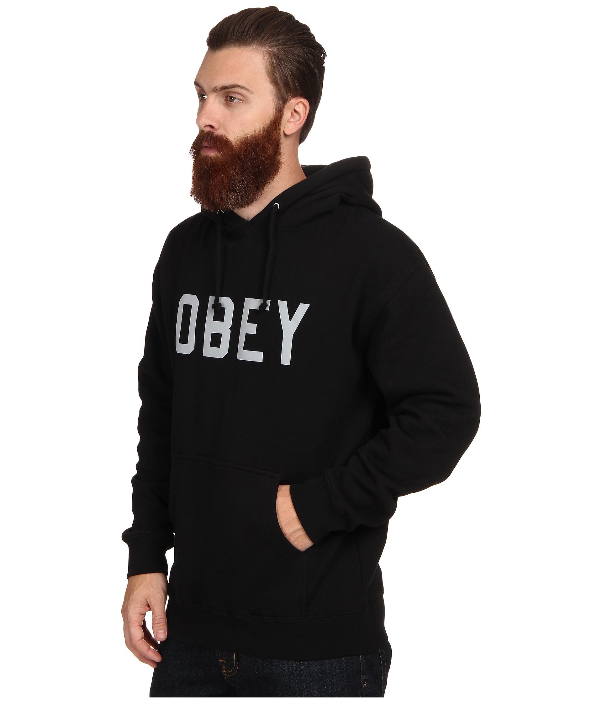 obey collegiate 3m reflective pullover hood sweatshirt in black for men lyst. Black Bedroom Furniture Sets. Home Design Ideas