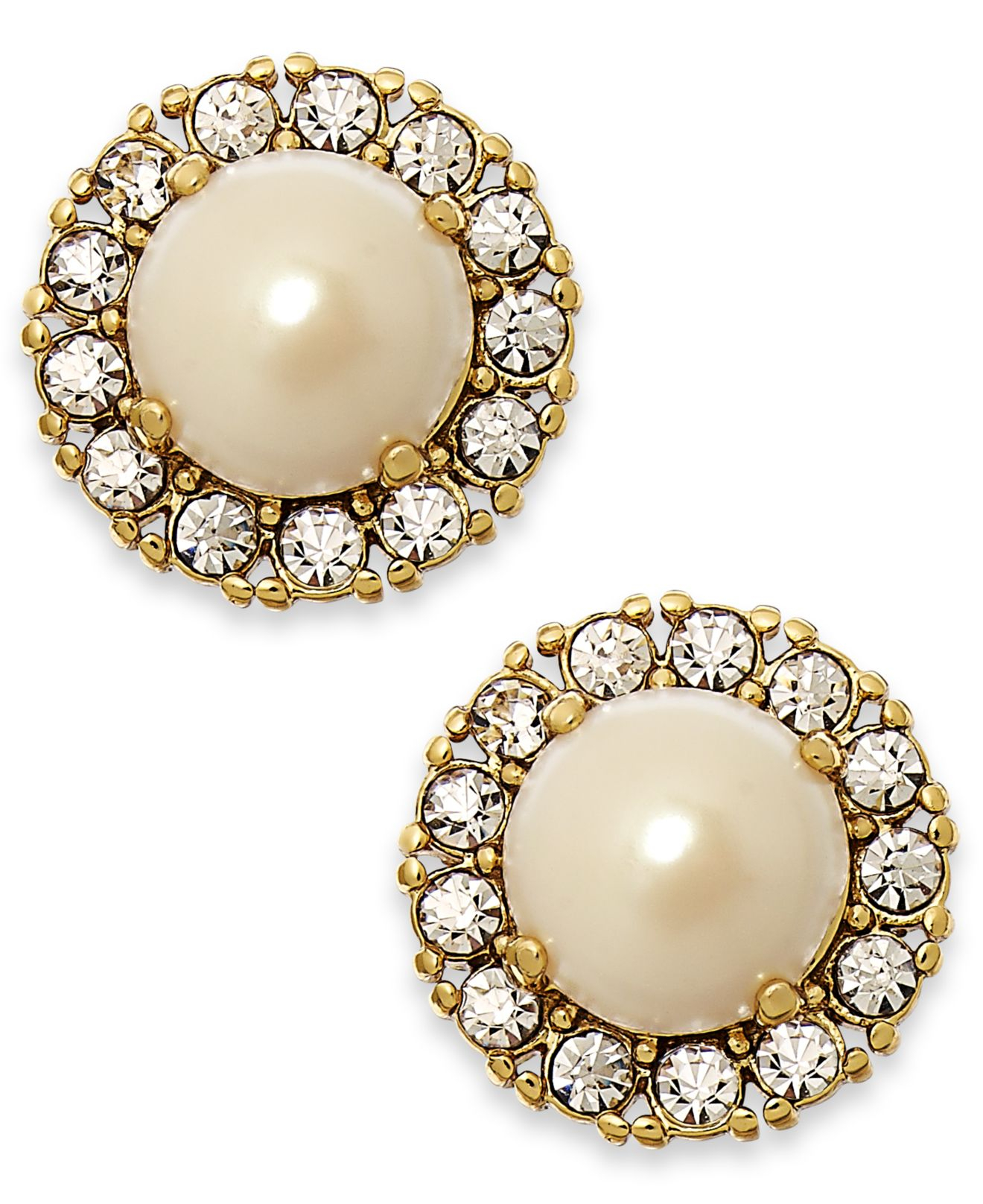 Kate spade new york Gold tone Round Crystal Pearl Stud Earrings in