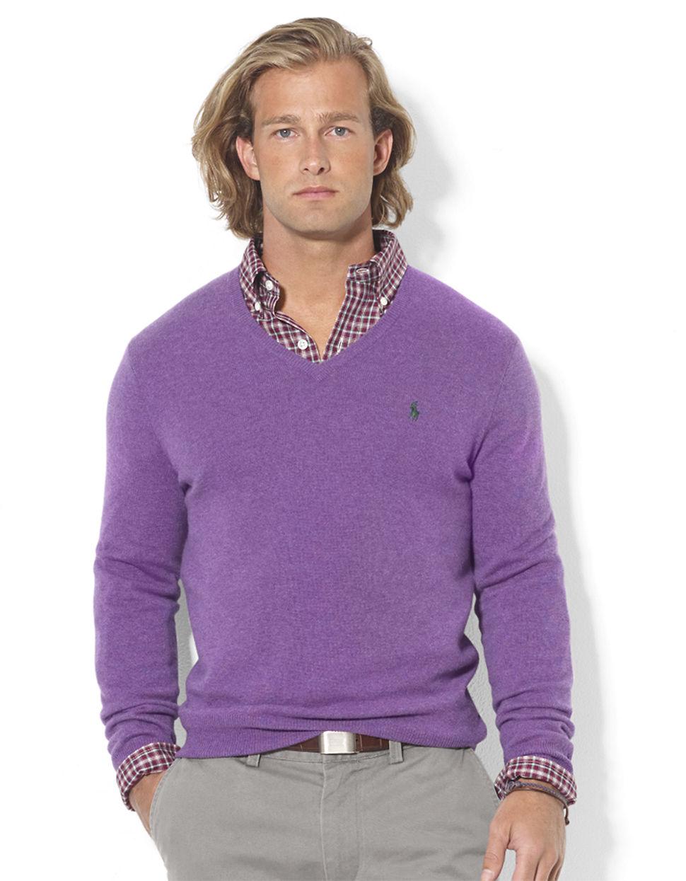 Polo ralph lauren Merino Wool Vneck Sweater in Purple for Men | Lyst