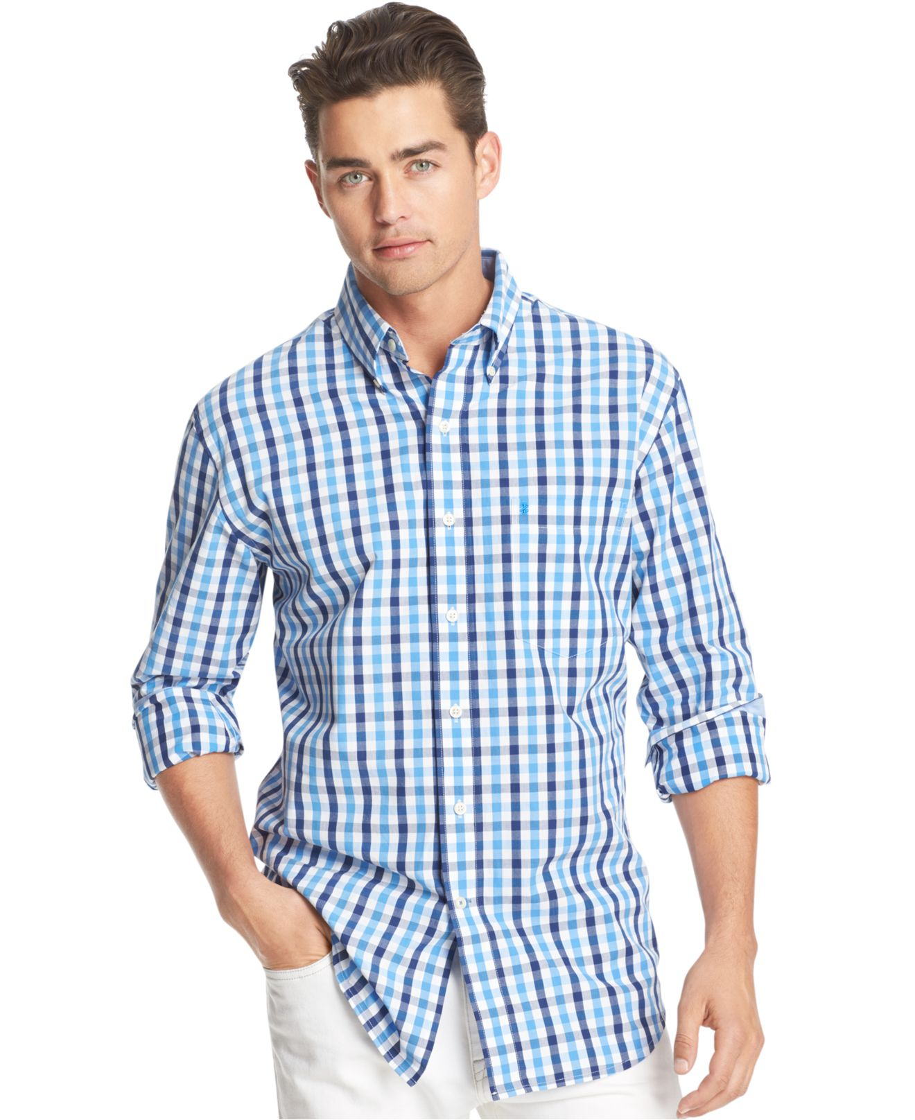 Lyst Izod Big And Tall Long Sleeve Gingham Shirt In Blue