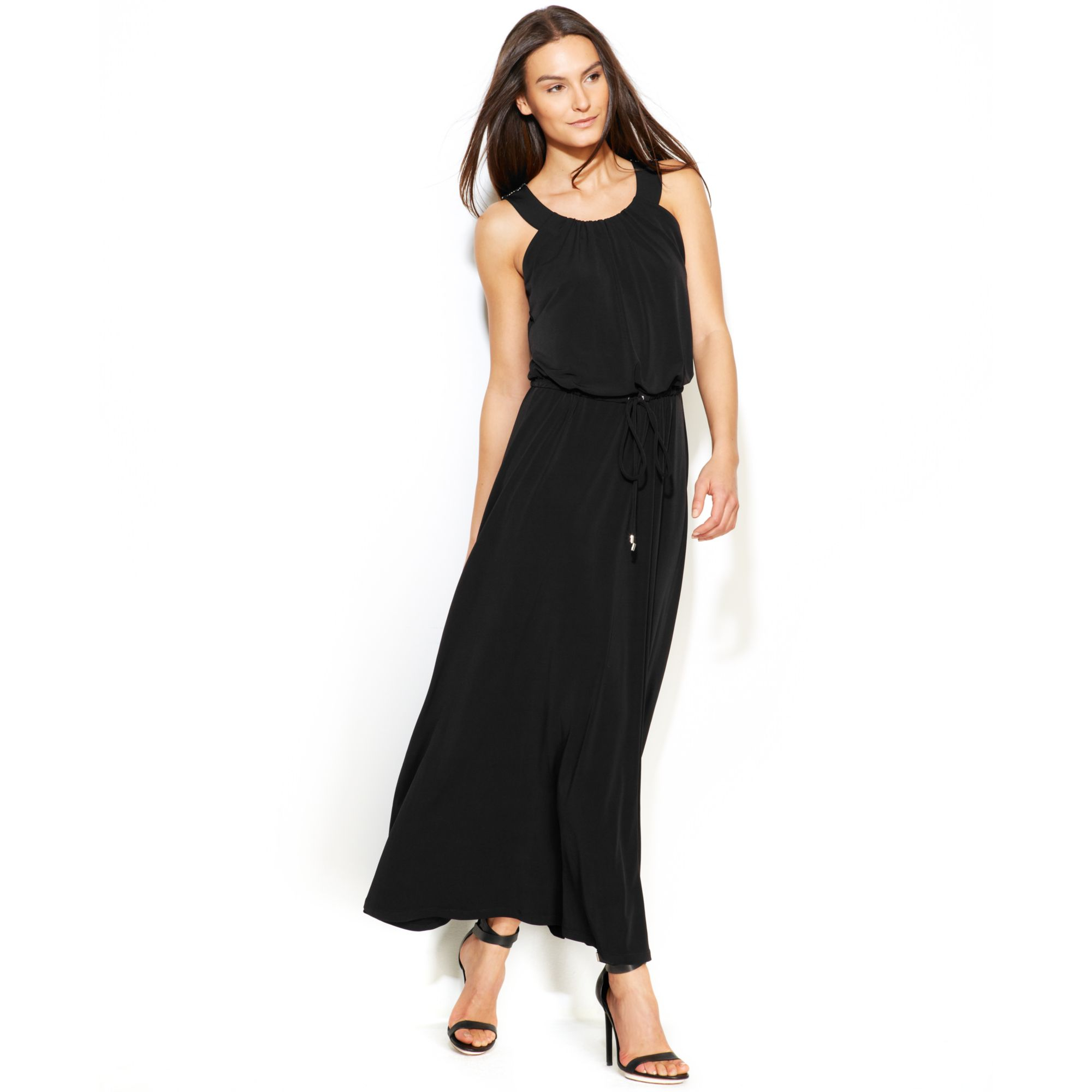 Lyst Calvin Klein Meshback Knit Maxi Dress In Black