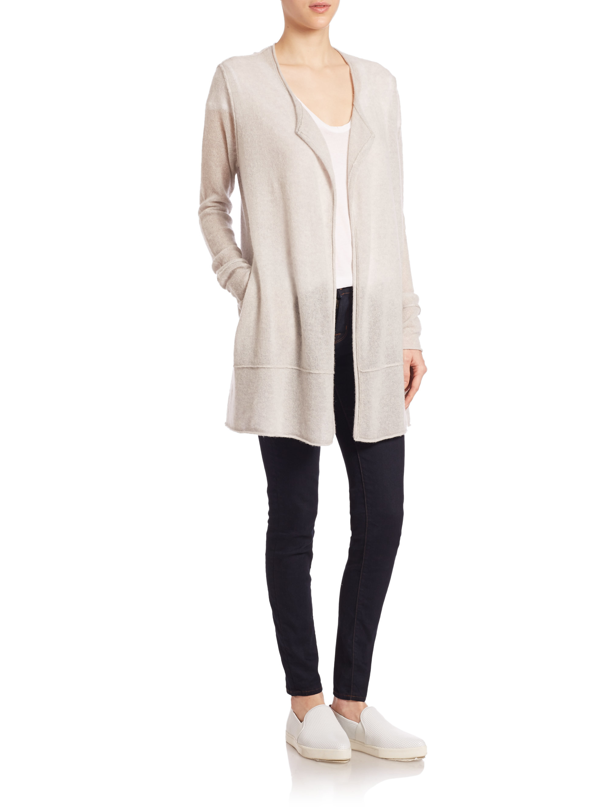 James perse Long Cashmere Cardigan in White | Lyst
