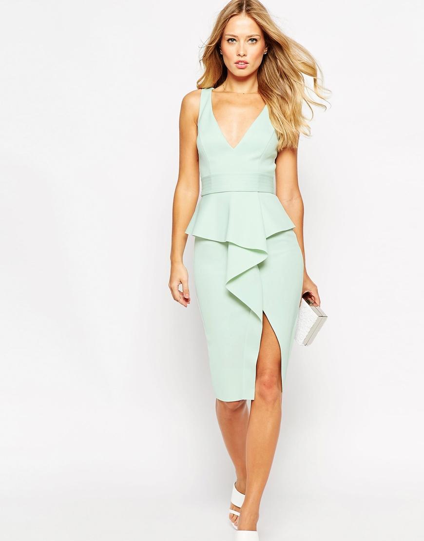 Asos Soft Peplum Wrap With Stitch Detail Belt Dress in Green | Lyst