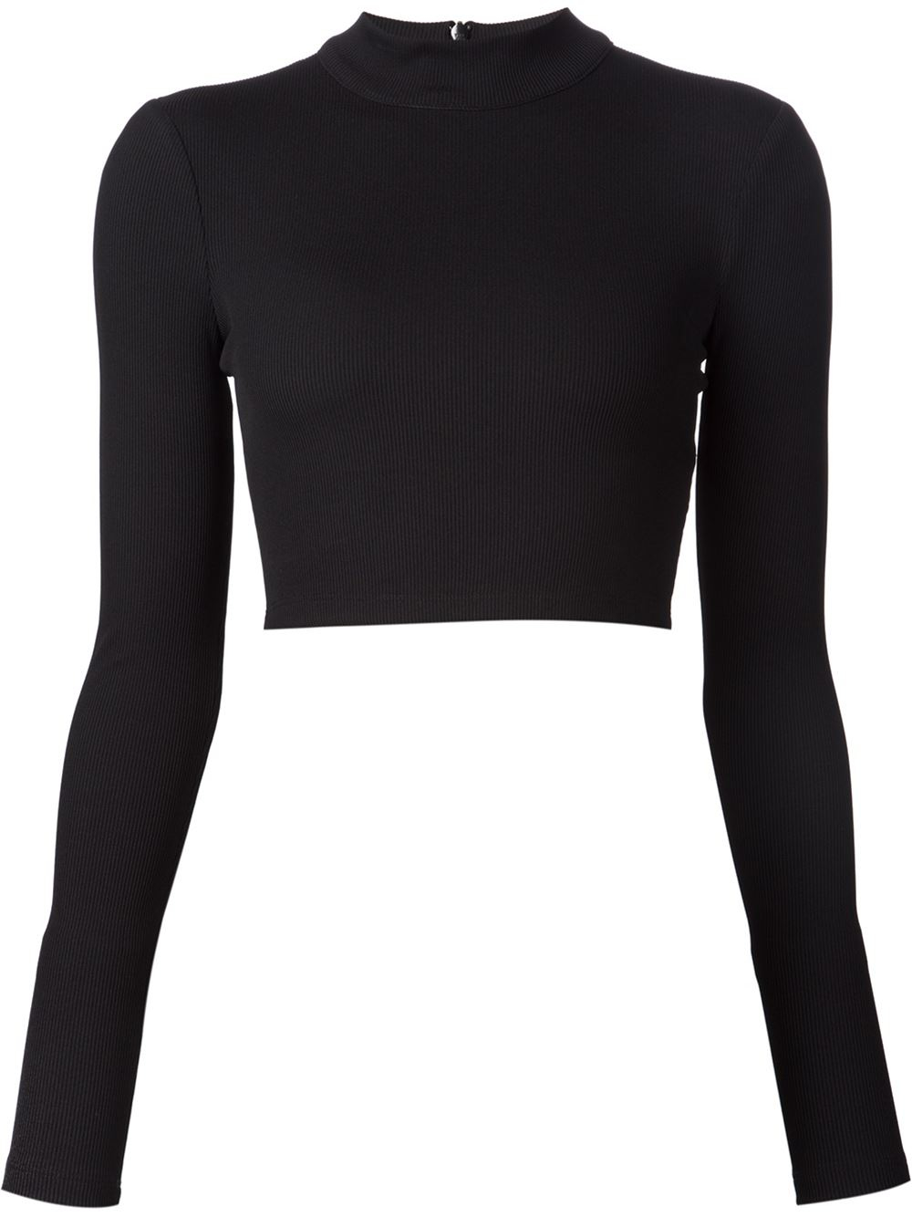 Tanya taylor Cropped Ribbed Sweater in Black | Lyst