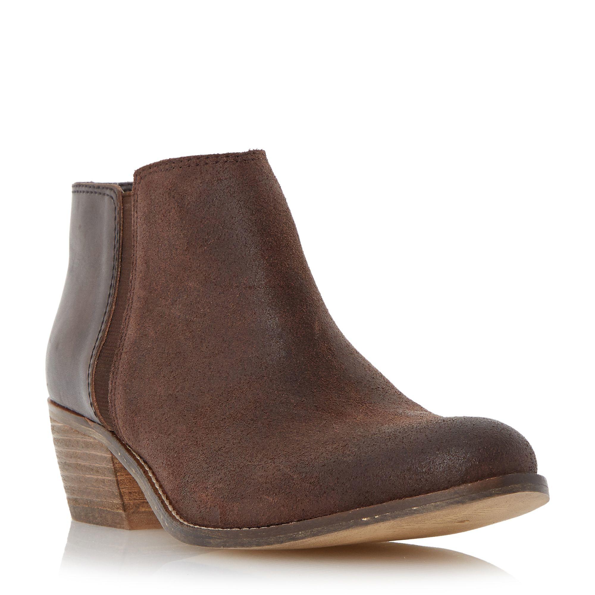 Dune Penelope Low Heel Ankle Boots in Brown | Lyst
