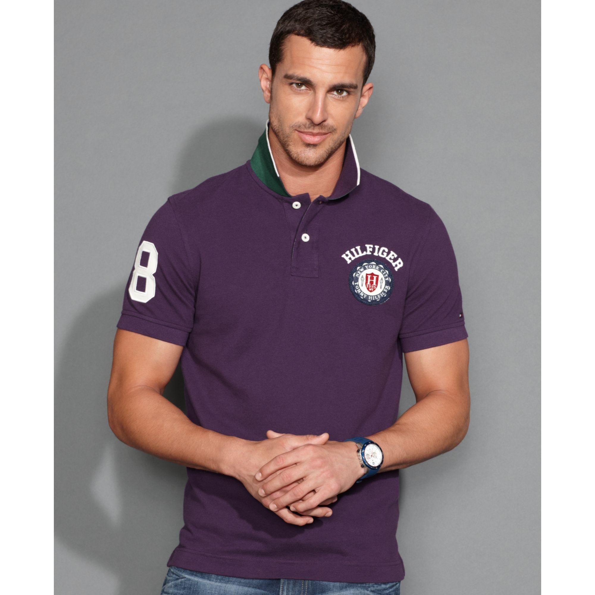 tommy hilfiger slim fit kent polo shirt in purple for men. Black Bedroom Furniture Sets. Home Design Ideas