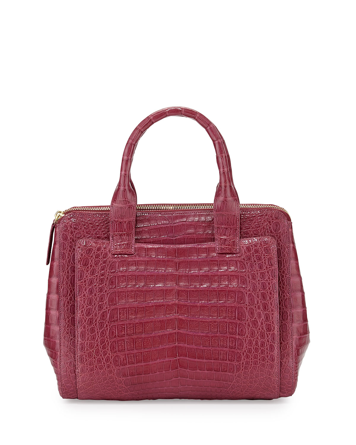 Nancy gonzalez medium crocodile zip tote bag raspberry in for Nancy gonzalez crocodile tote