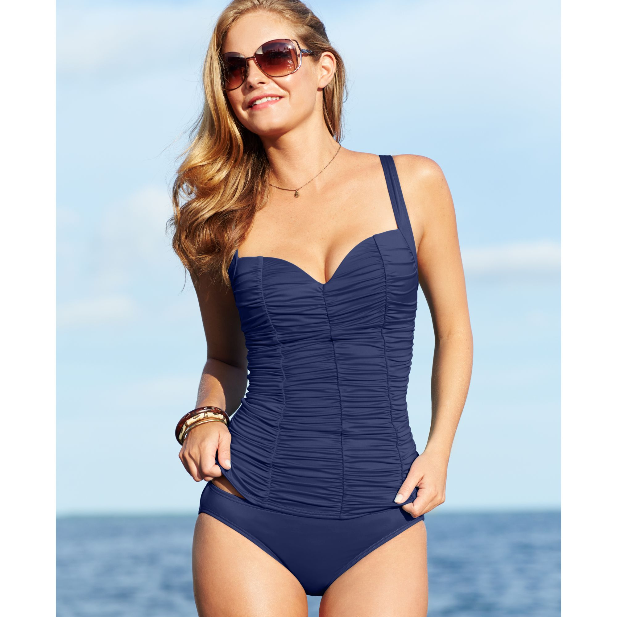 91947b54e91b8 Lyst - DKNY Ruched Underwire Tankini Top in Blue