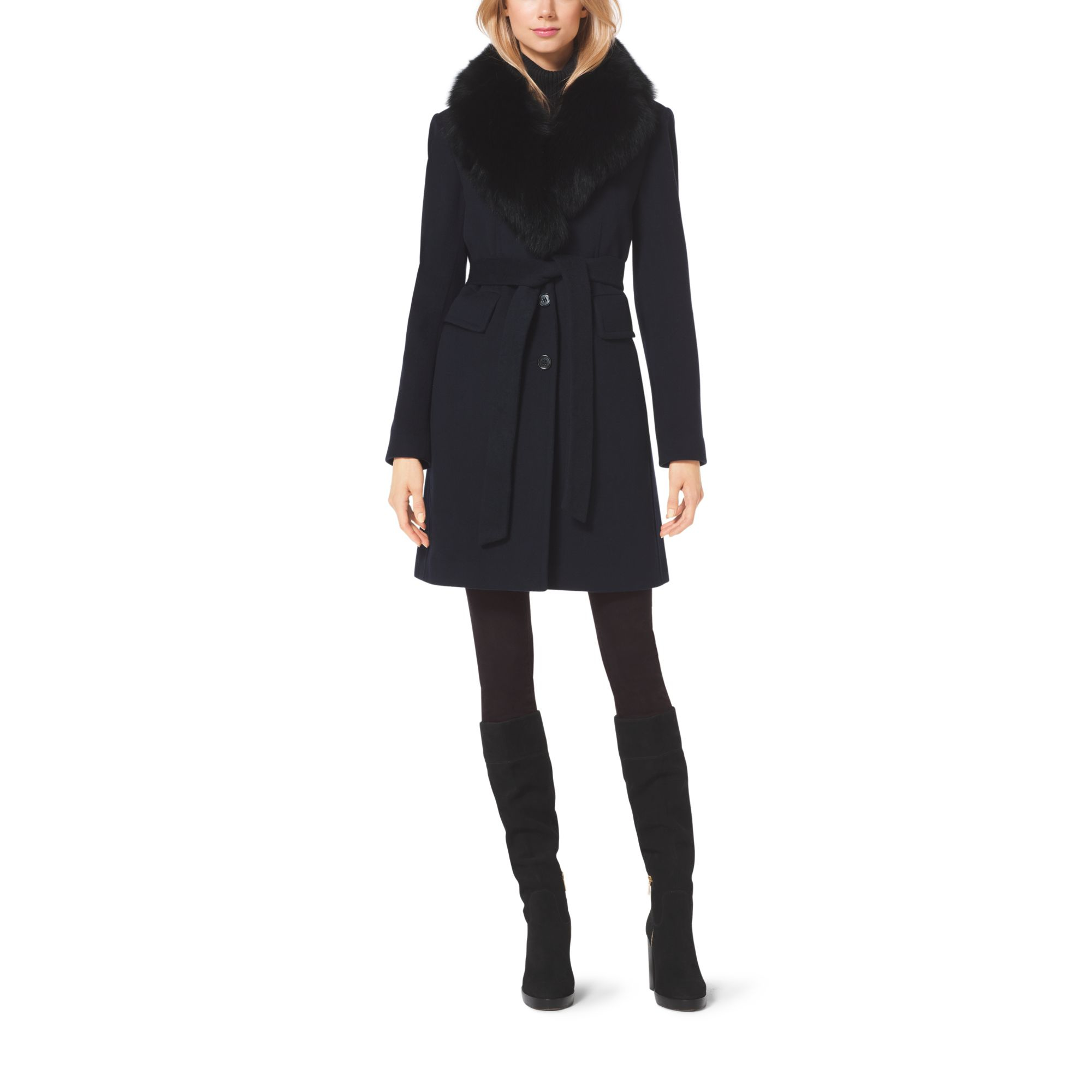 Michael kors Wool-blend Fur-collar Coat in Blue | Lyst