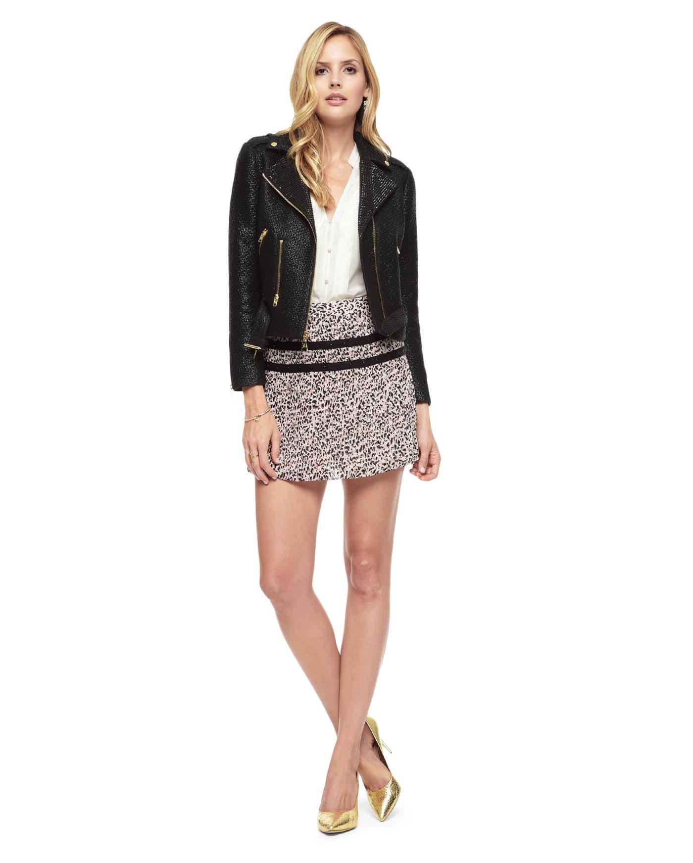 juicy couture coated boucle embellished moto jacket in black lyst. Black Bedroom Furniture Sets. Home Design Ideas