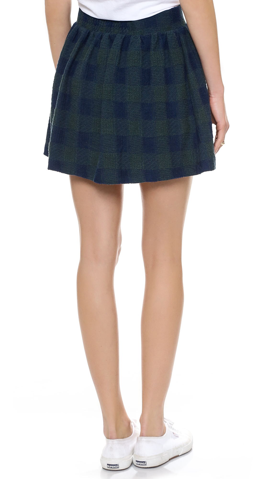Free people Holly Go Lightly Plaid Skirt in Blue | Lyst
