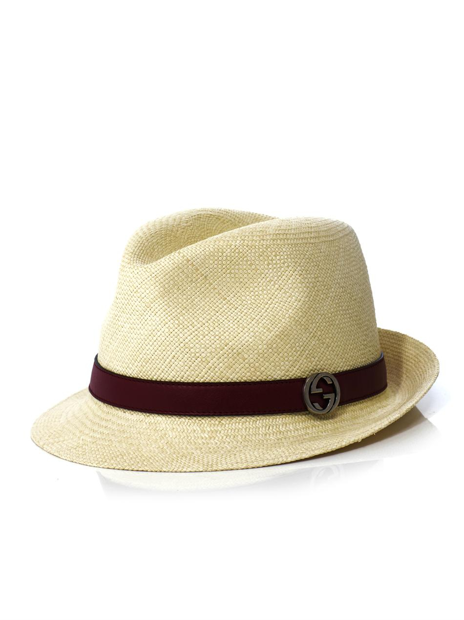 8d38084fed1 Gucci Panama Leather Trim Straw Hat in Natural for Men - Lyst