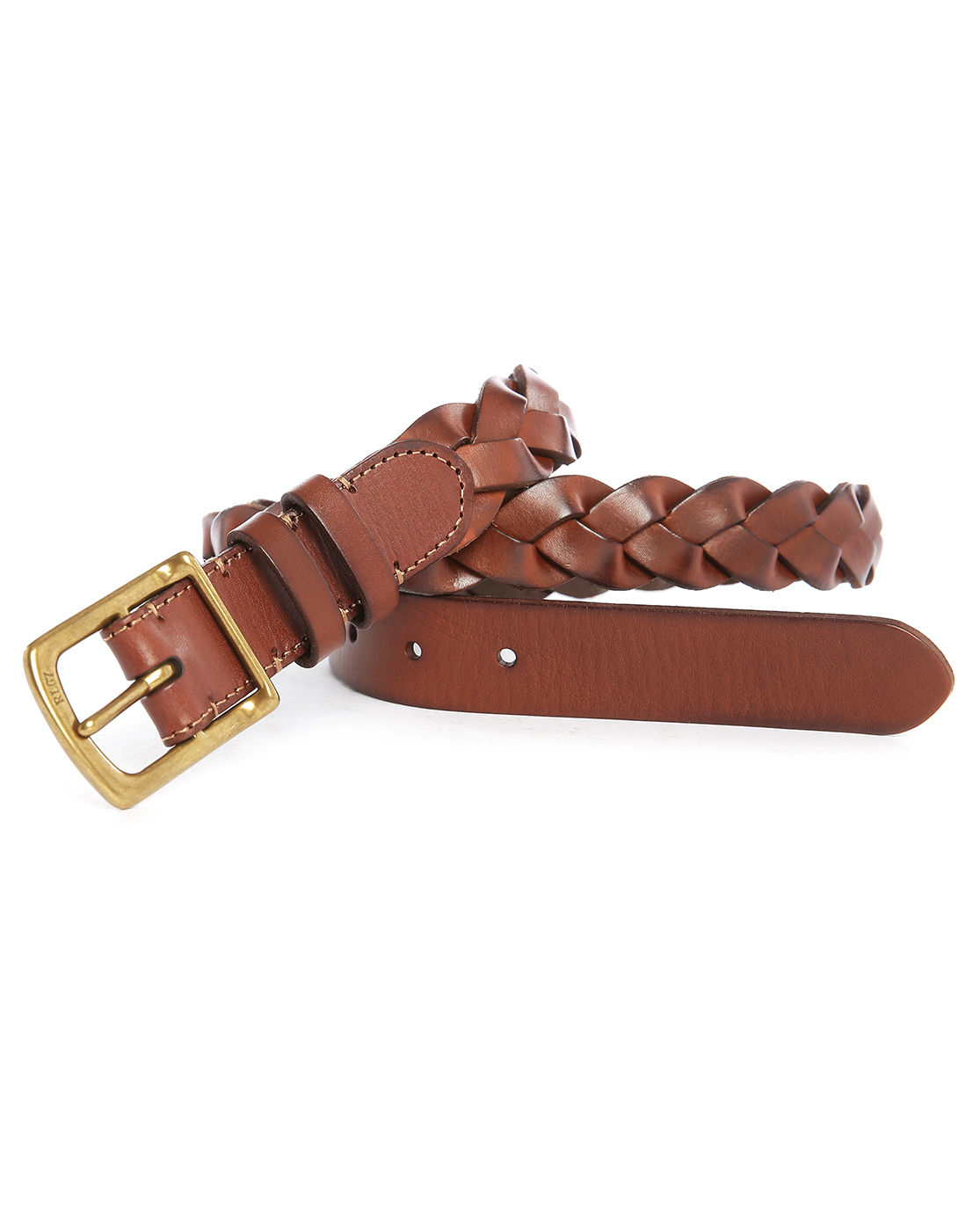 polo ralph brown woven leather belt in brown for