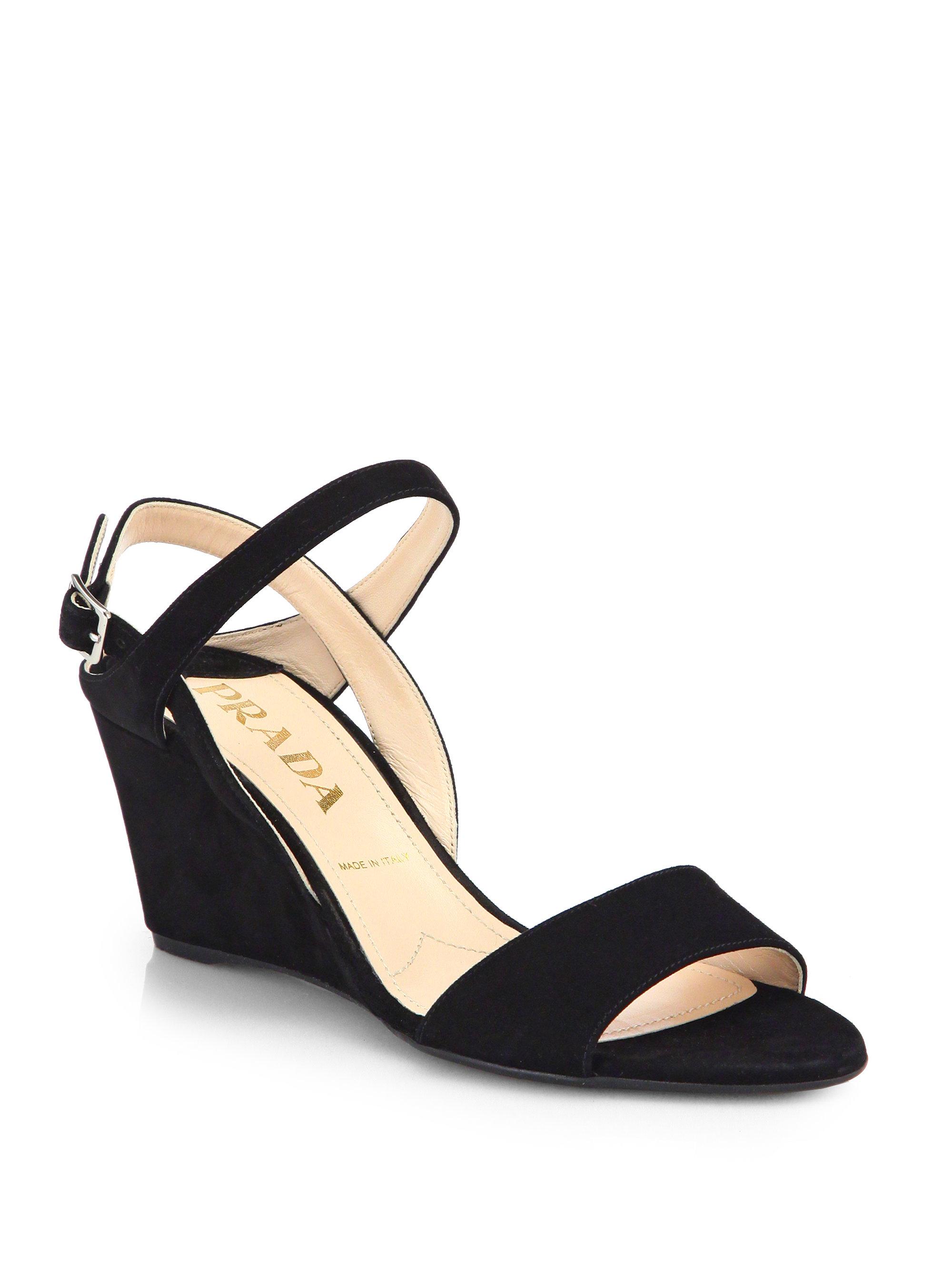 Prada Suede Slingback Wedge Sandals In Black Nero Black