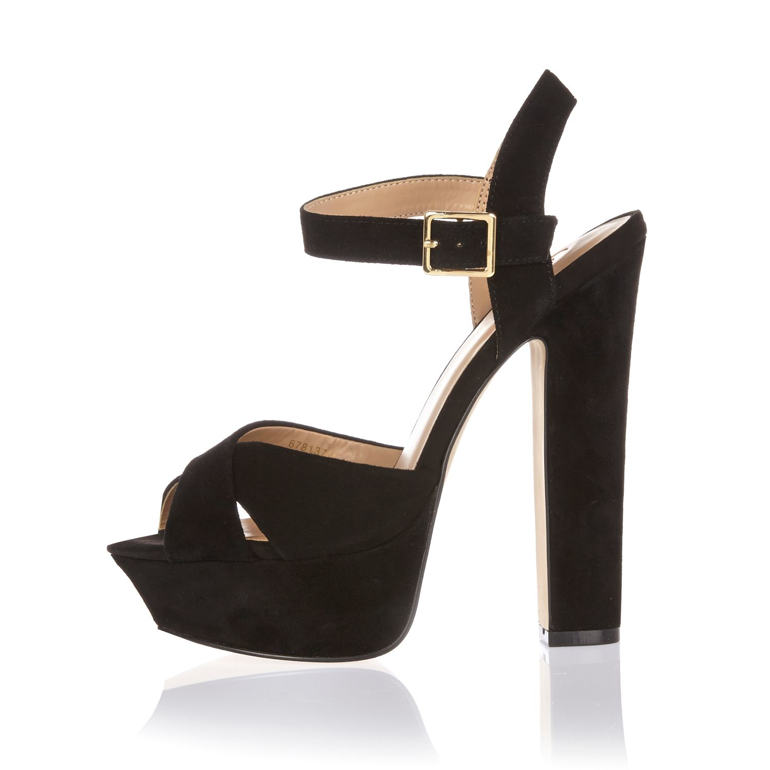 River island Black Suede Platform Heels in Black | Lyst