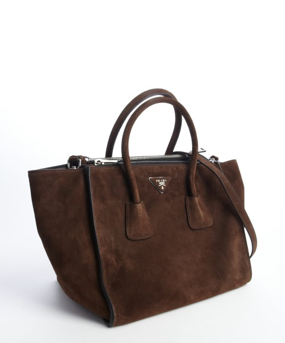 7826d6810bc7 ... low price prada brown suede twin pocket tote bag in brown lyst 15408  26383