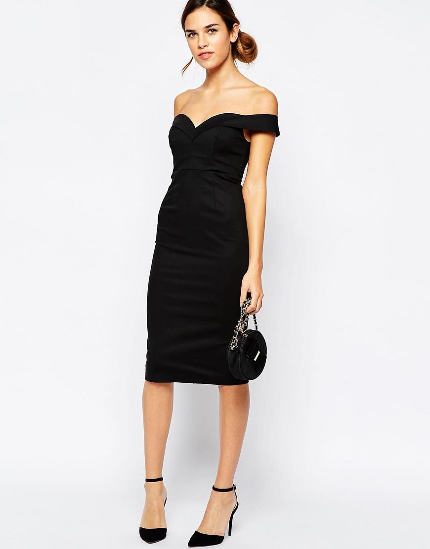 637b2331216 Bardot Sweetheart Off Shoulder Dress in Black - Lyst