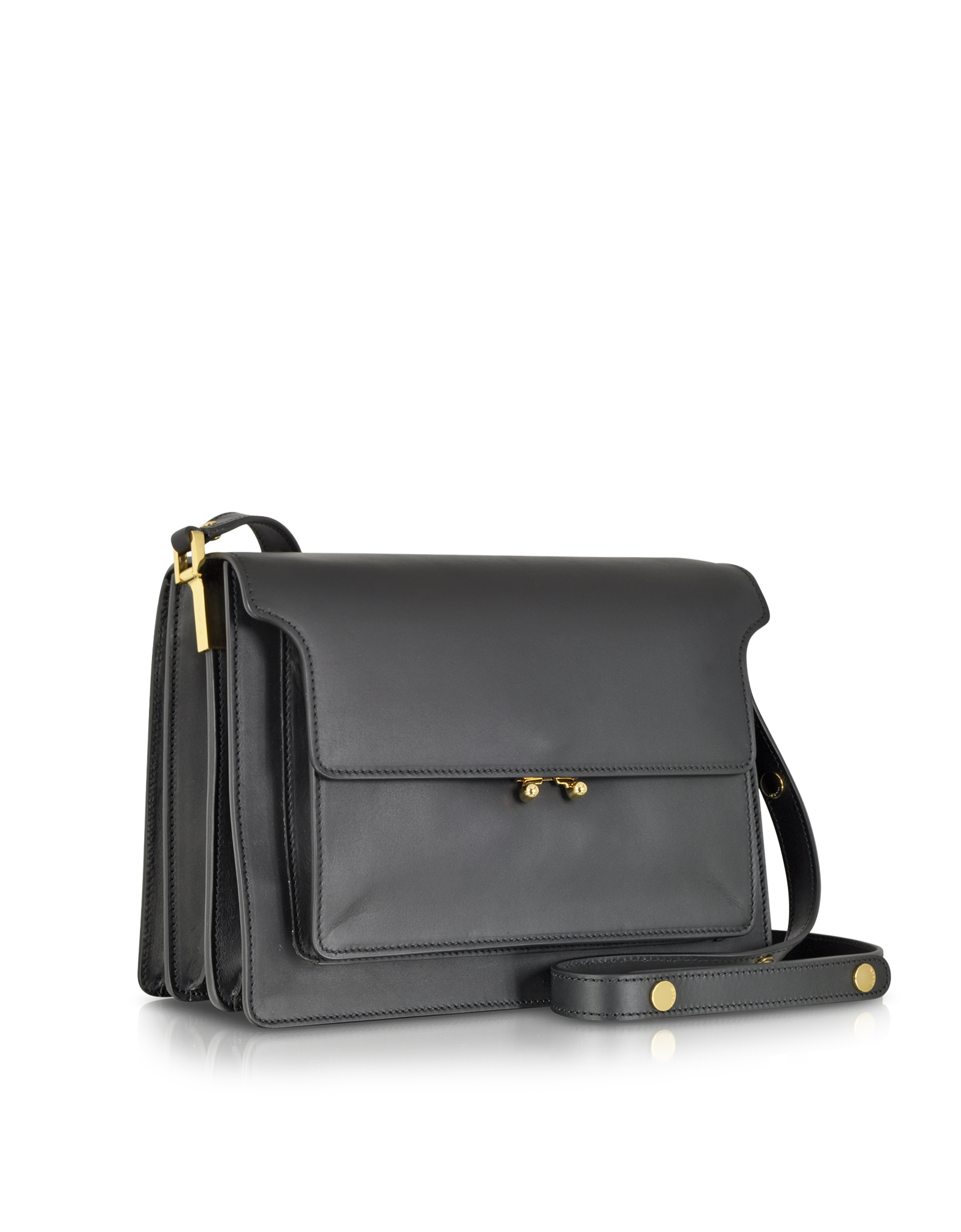 65f63a43d Marni Large Leather Trunk Bag in Black - Lyst