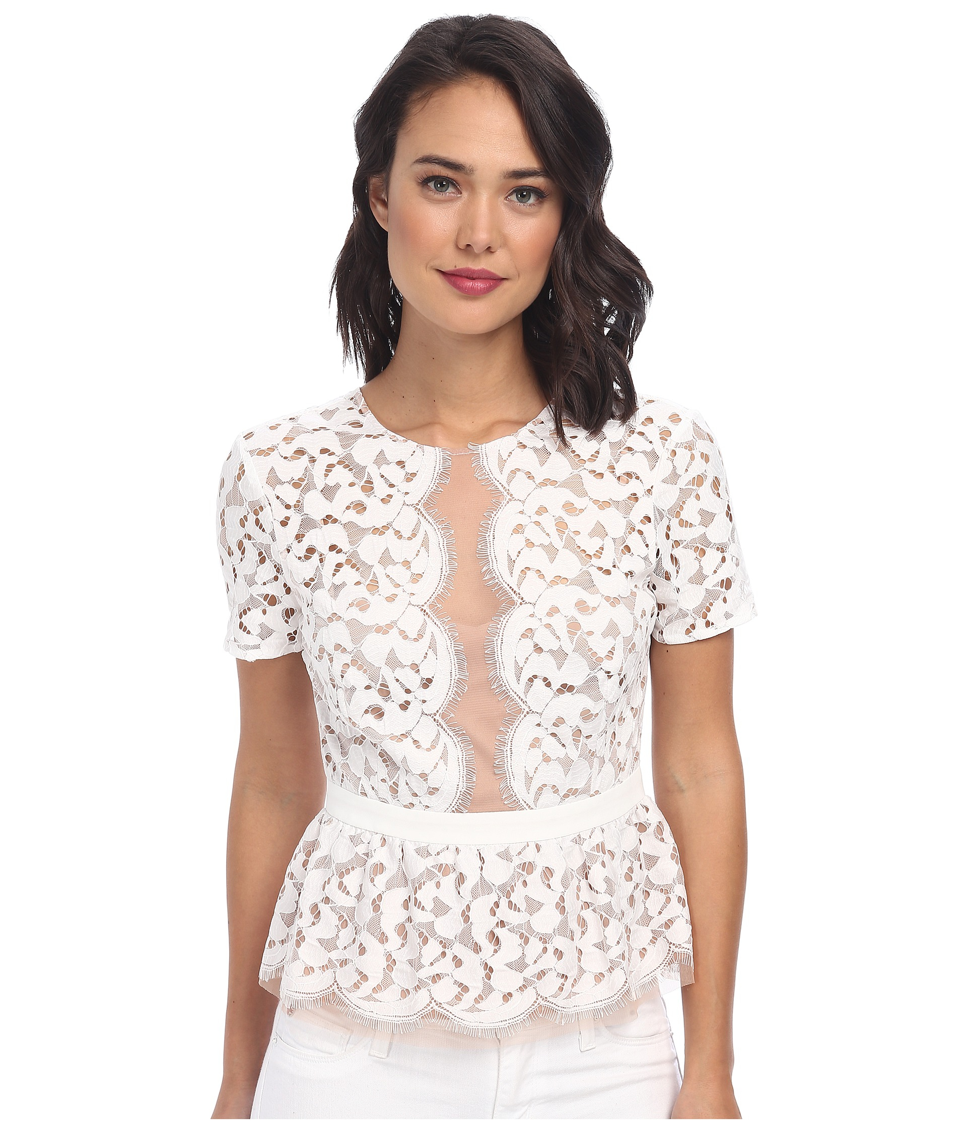 We are loving the chic feels of the Remmy White Lace Peplum Top! Elegant white lace overlay and nude stretch knit shapes a rounded neckline, with a plunging, sheer mesh insert. The sleeveless bodice has pierced crochet detail throughout. Chic peplum hem ends in /5(8).