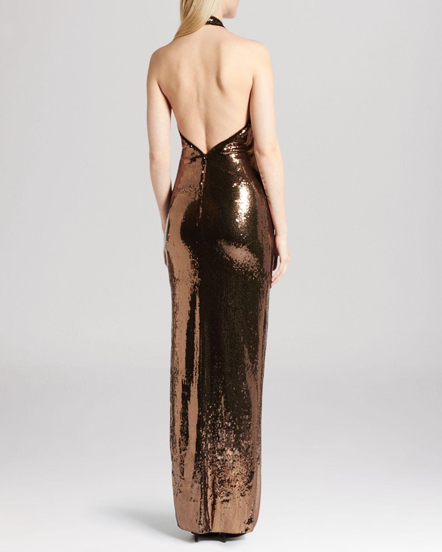 Halston Gown Sleeveless Deep V Neck Metallic Sequin