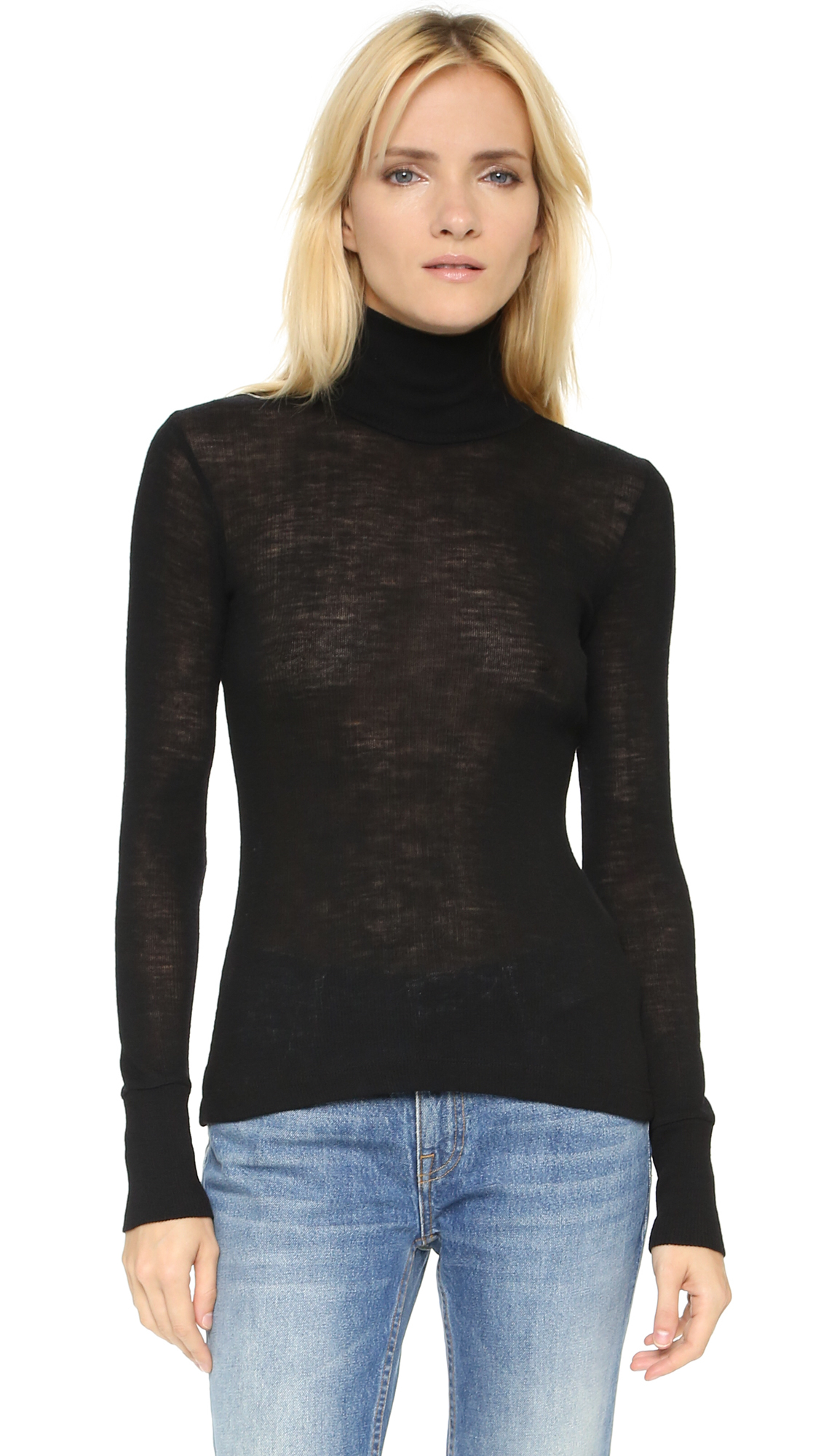 T by alexander wang Wooly Ribbed Fitted Turtleneck - Black in ...