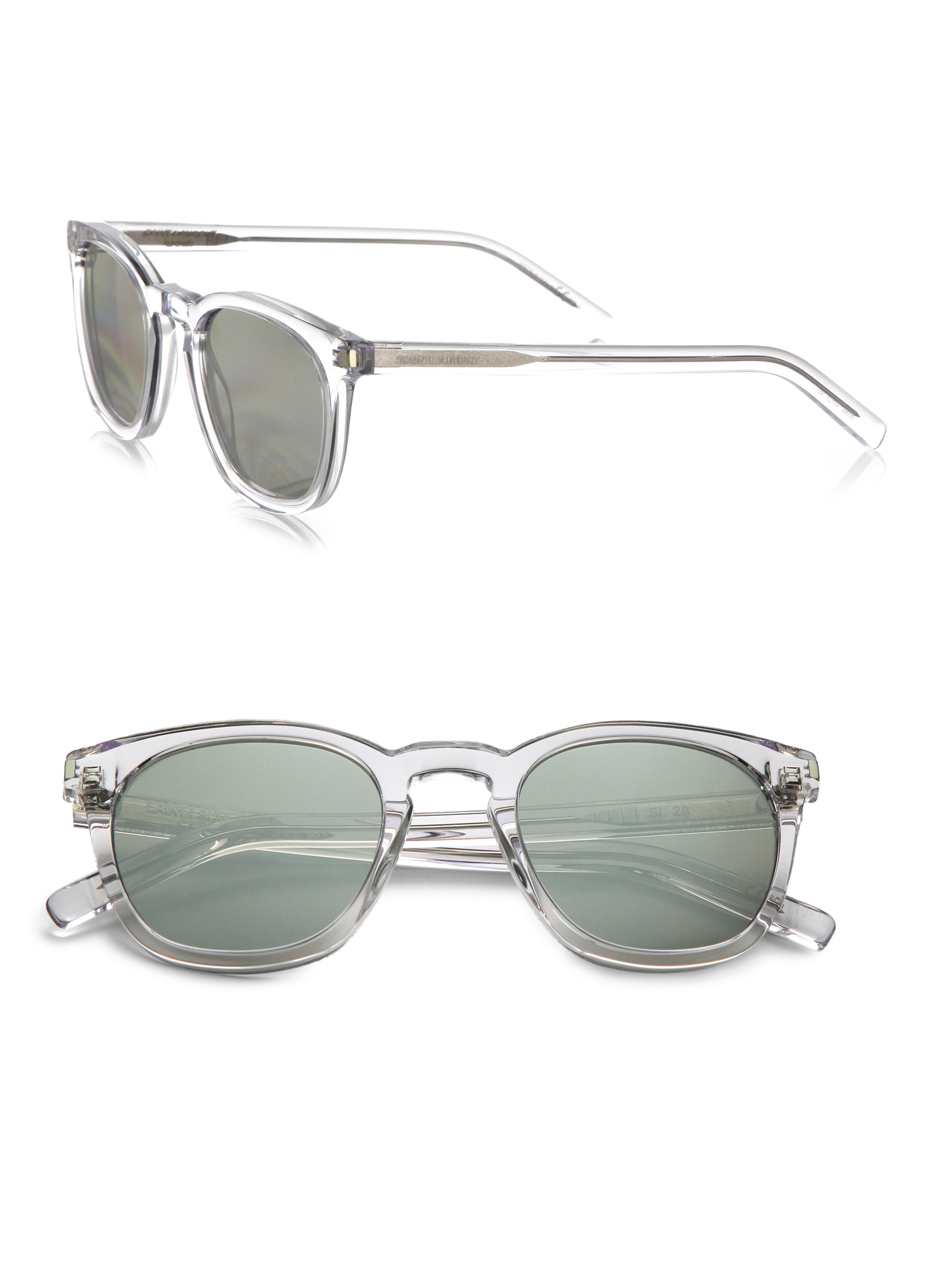 Lyst Saint Laurent Round Acetate Mirrored Sunglasses