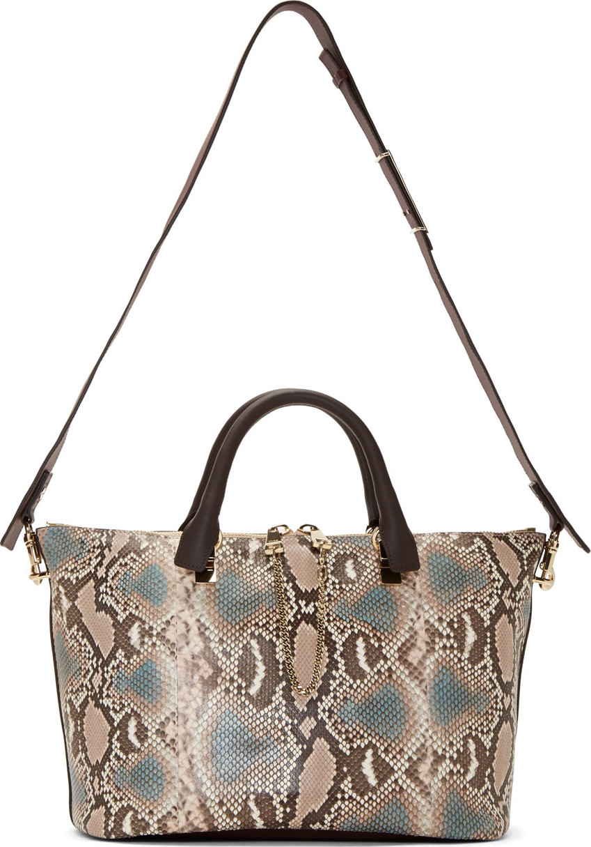 Chlo¨¦ Purple and Taupe Python Leather Medium Baylee Bag in Purple ...
