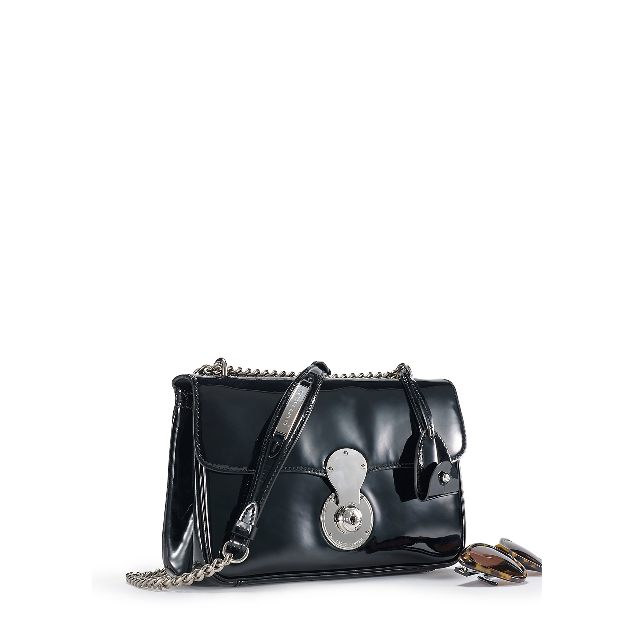063b867cc0 ... where can i buy lyst ralph lauren patent leather ricky chain bag in  black 1a1a9 85405
