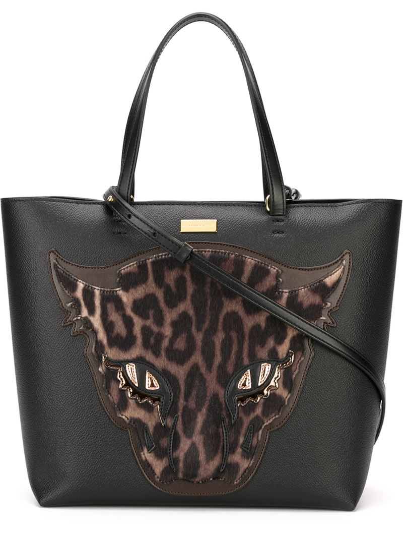 89f699faf31e Lyst - Stella Mccartney Wild Cat Appliqué Shopper Tote in Black