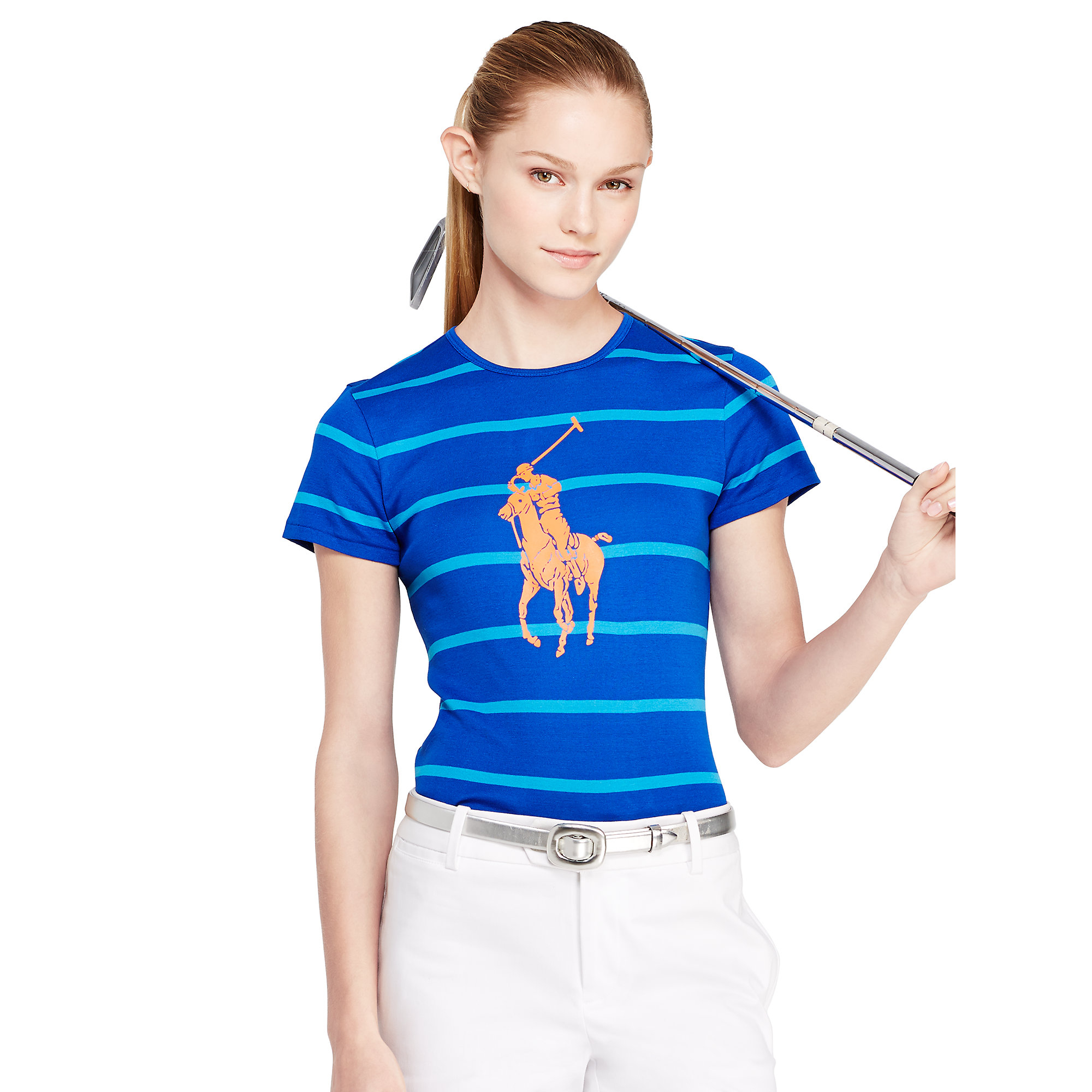 ralph lauren golf striped big pony tee in blue lyst. Black Bedroom Furniture Sets. Home Design Ideas