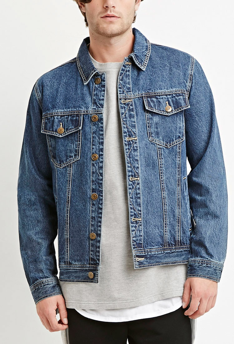 Forever 21 Classic Denim Jacket in Blue for Men | Lyst