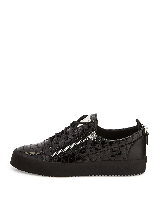 giuseppe zanotti crocodile embossed low top sneakers in