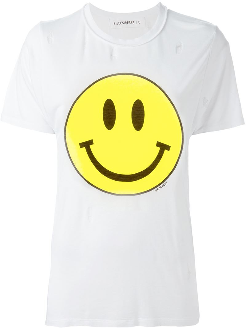 filles a papa smiley face print t shirt in white lyst. Black Bedroom Furniture Sets. Home Design Ideas