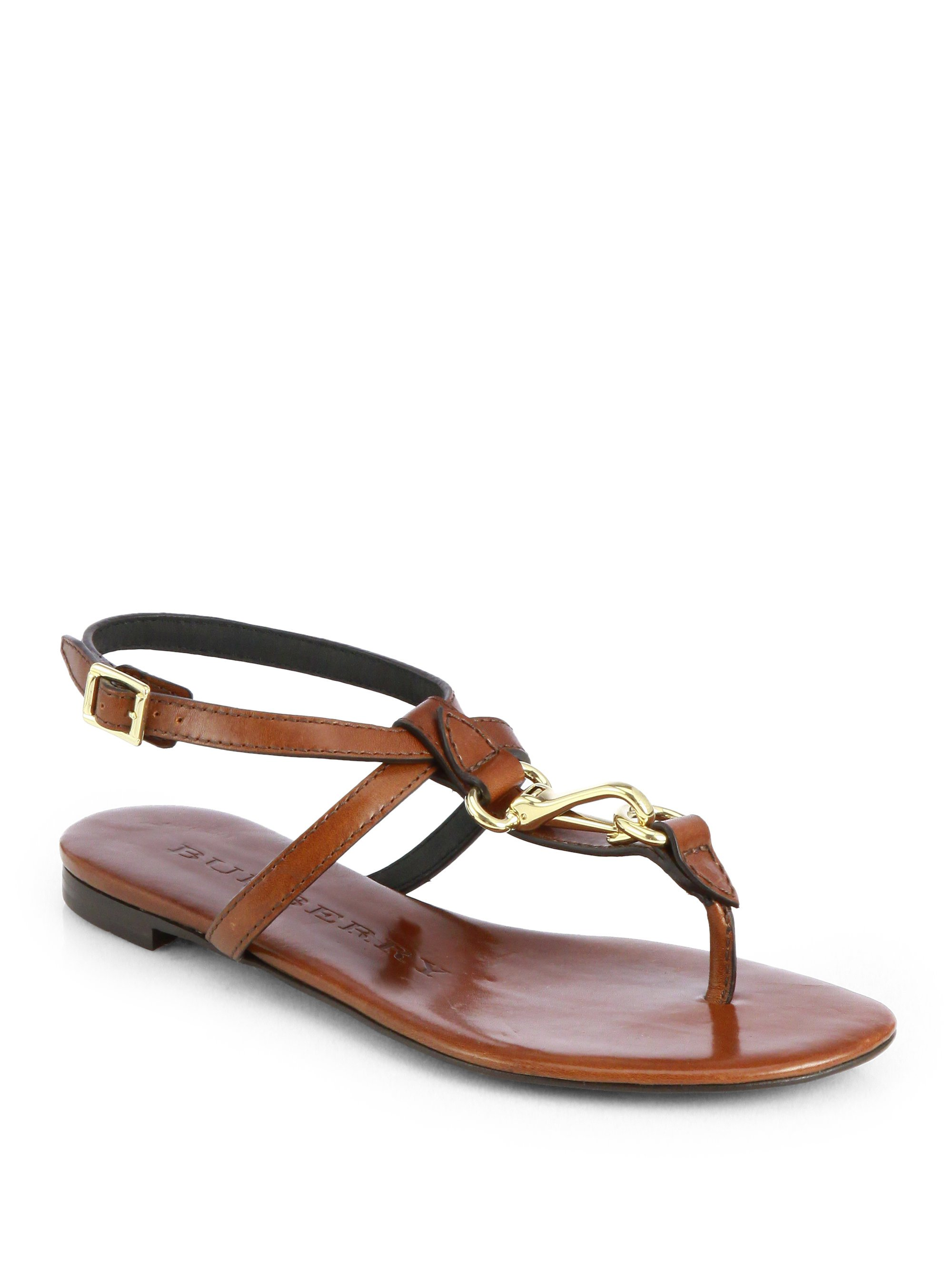 b817233a3c0 Lyst - Burberry Reason Leather Thong Sandals in Brown