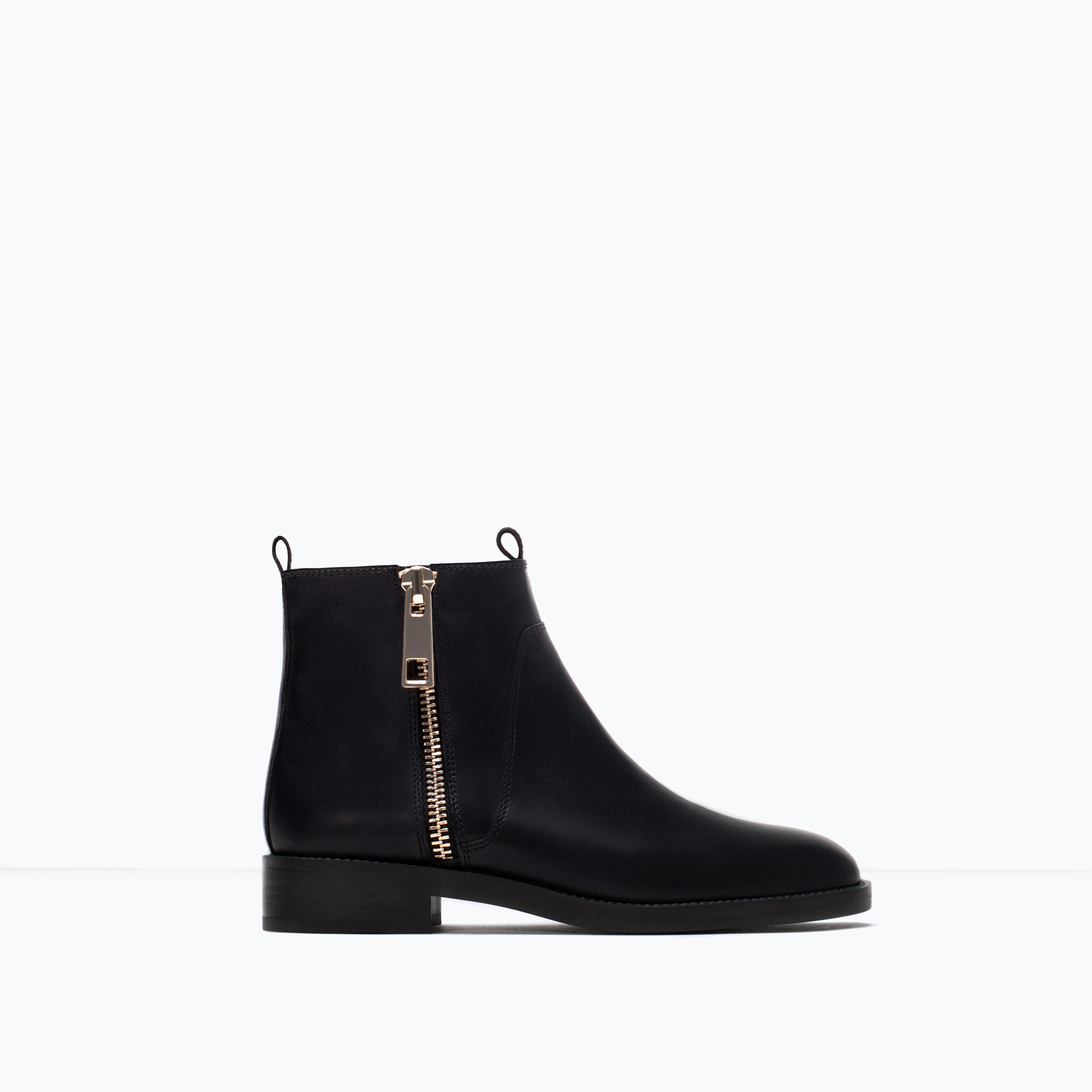 zara basic leather ankle boots in black lyst