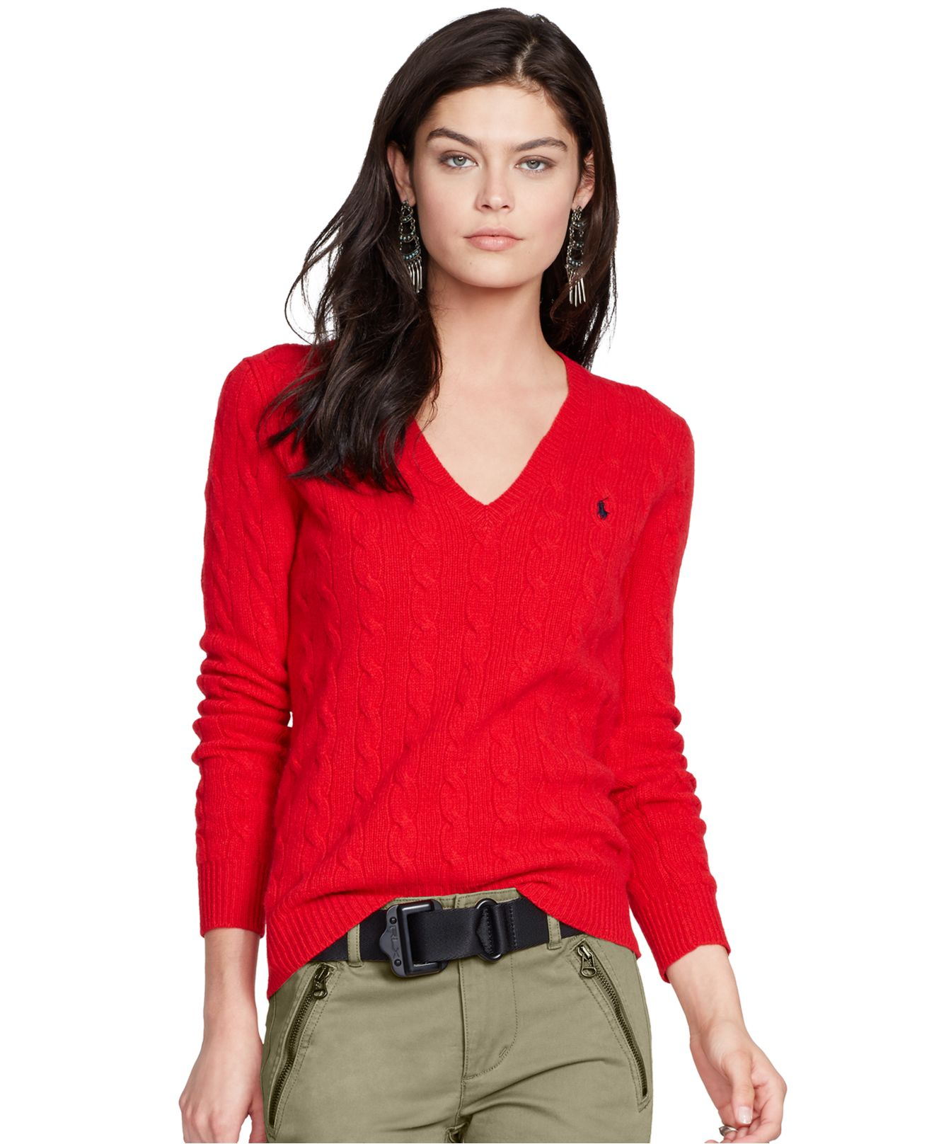 Lyst Polo Ralph Lauren V Neck Cable Knit Wool Cashmere