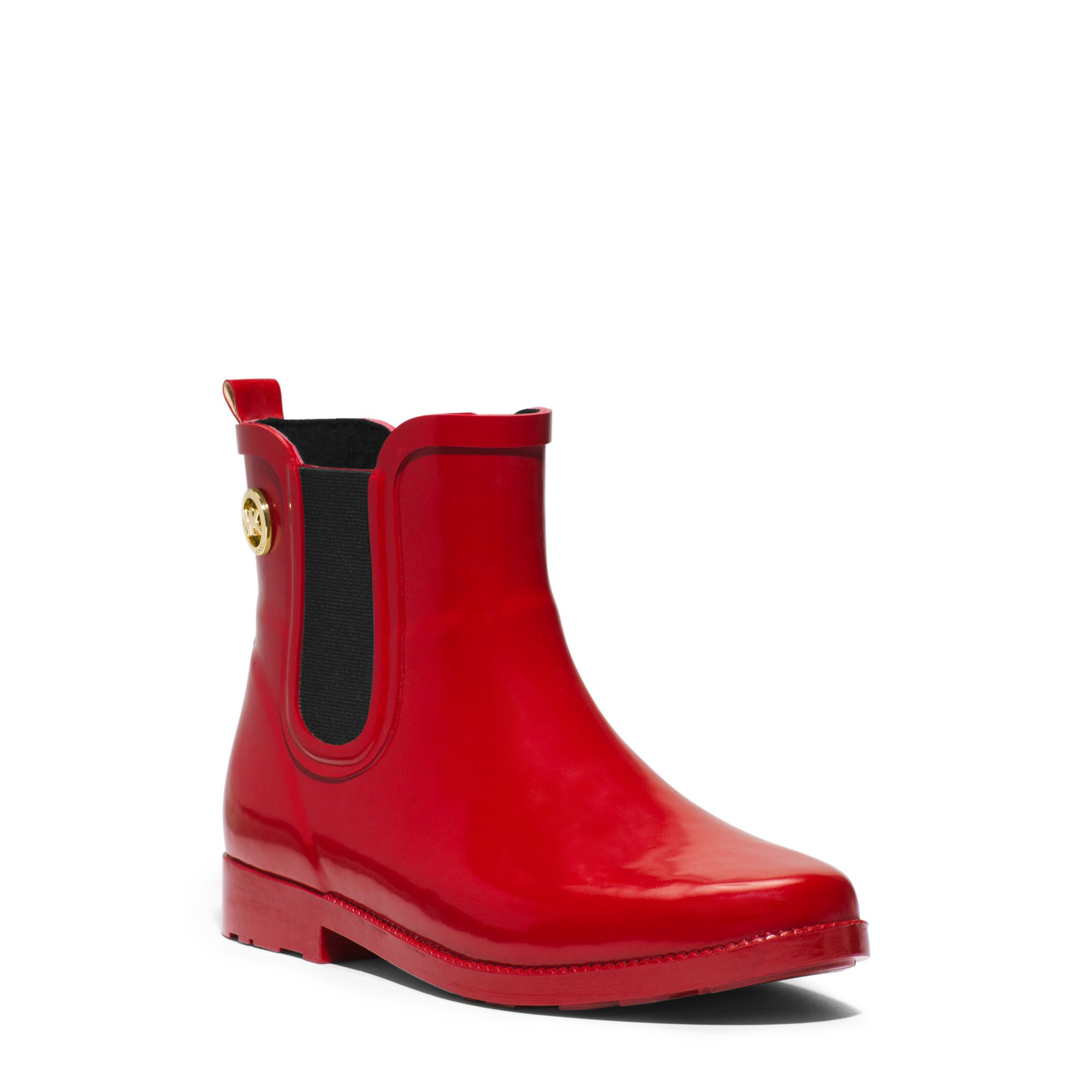 Michael kors Short Rubber Rain Boot in Red | Lyst