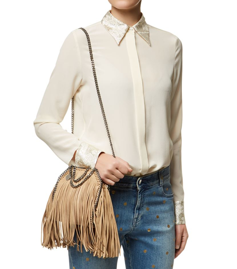 4d0e1cb3e918 Stella McCartney Falabella Shaggy Deer Fringed Tiny Tote in Natural - Lyst