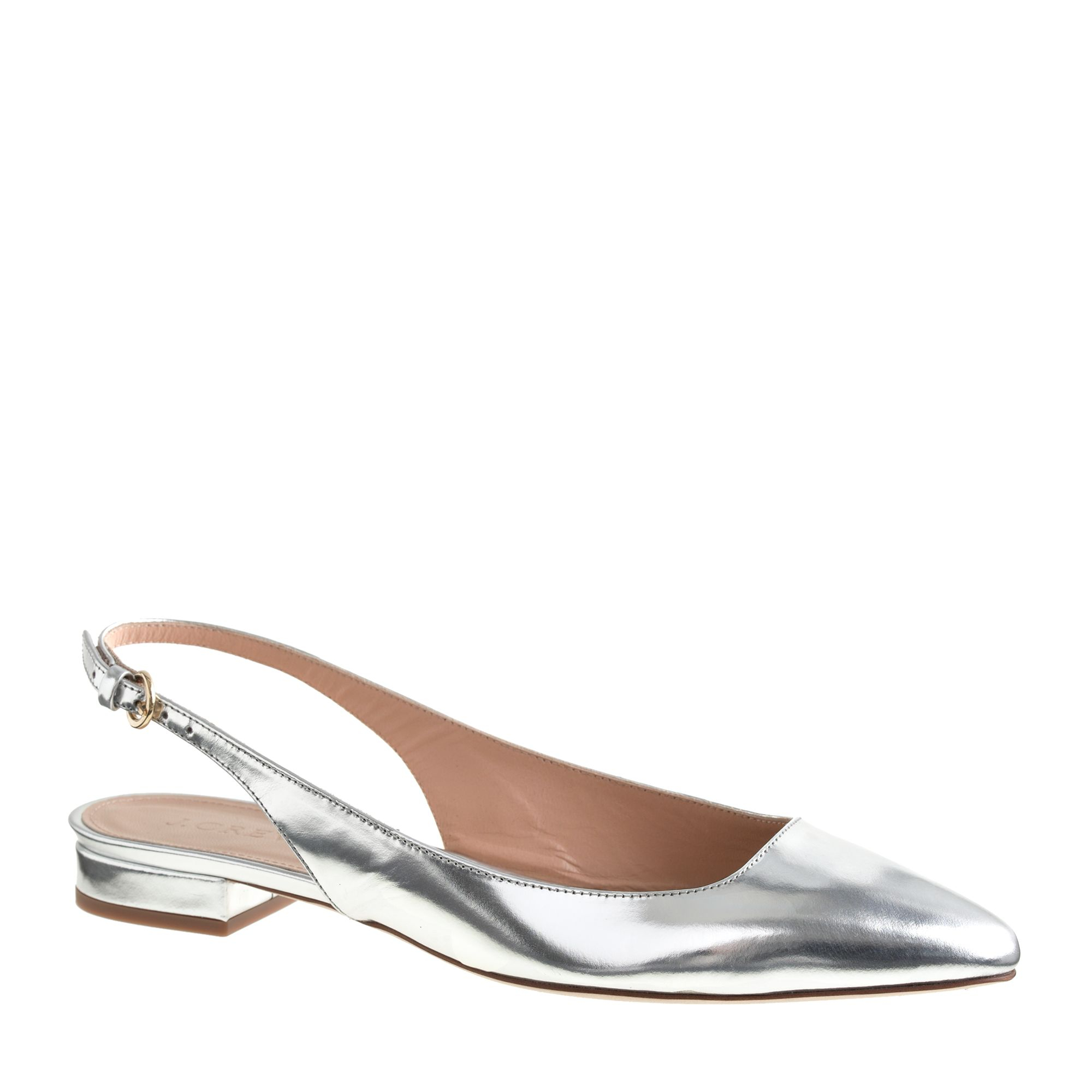 Silver Flat Slingback Shoes